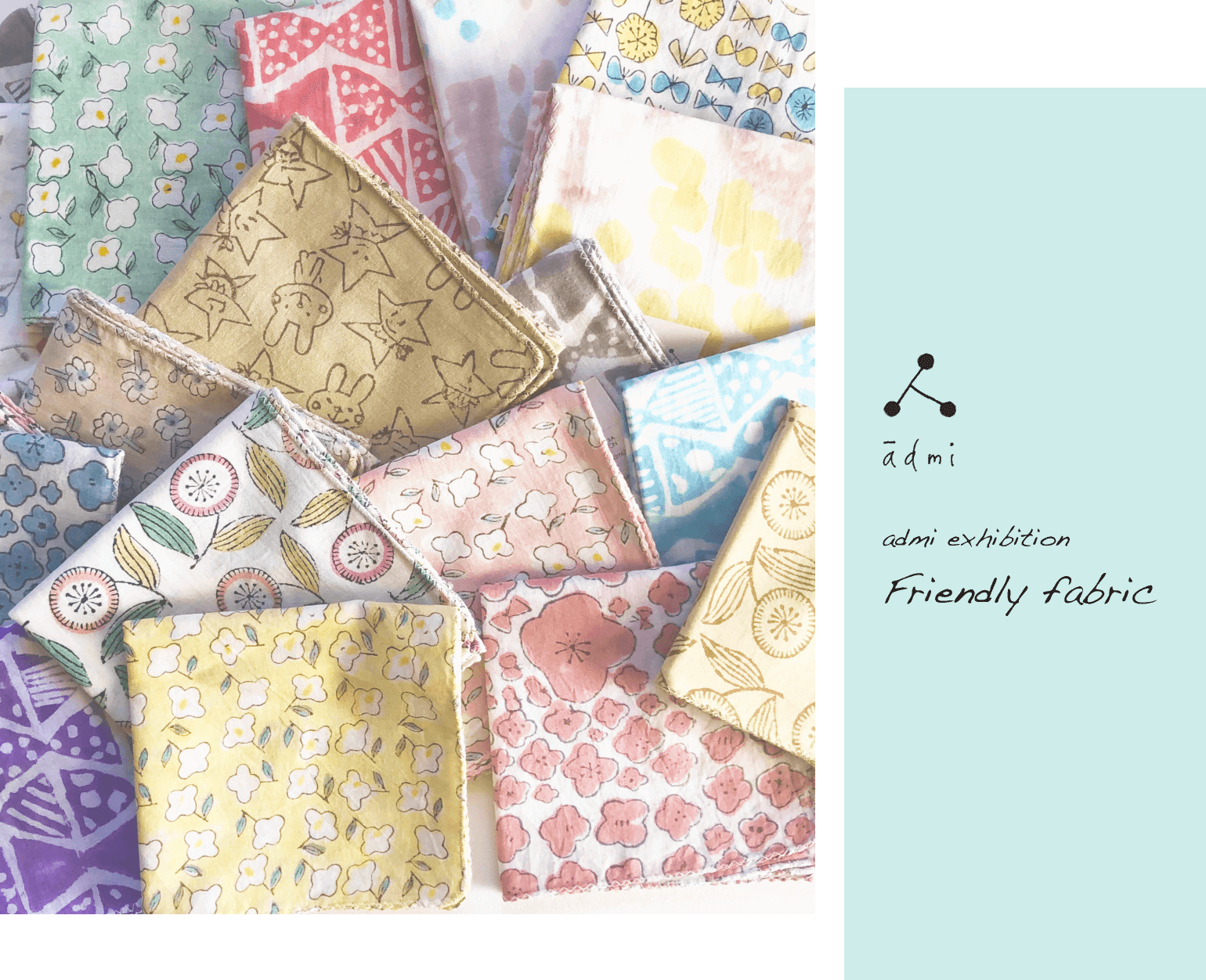 Colorful DM design with many patterns of handkerchiefs lined up